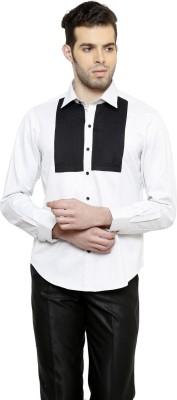 RICHARD COLE Men's Solid Formal White, Black Shirt
