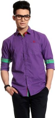 Cotton Crus Men,s Solid Casual Purple Shirt