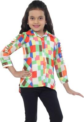 Catmini Girl's Checkered Casual Green Shirt