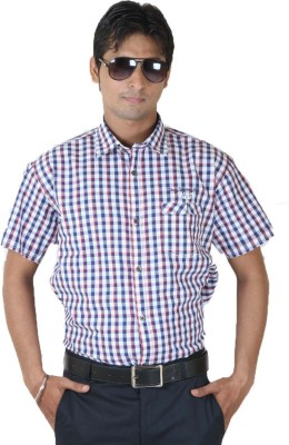 Ignu Men's Checkered Casual Blue, Red, White Shirt