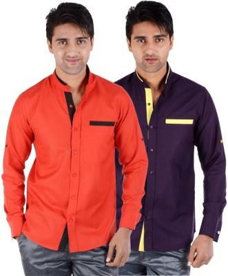 S9 Men's Solid Formal, Festive, Party Orange, Purple Shirt