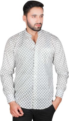 Bag Your Rag Men's Printed Casual Grey Shirt