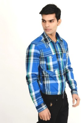 Yellow Tree Men's Solid Casual Blue Shirt