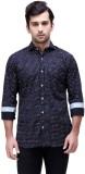 Ebry Men's Printed Casual Dark Blue Shir...