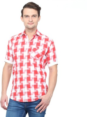 Brice Men's Checkered Casual Red Shirt