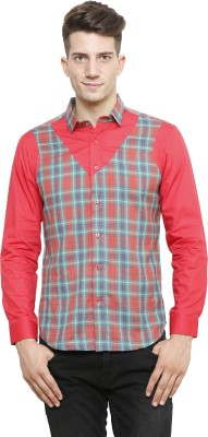 NFC Men's Checkered Casual Red Shirt