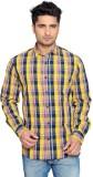 Thinc Men's Checkered Casual Yellow Shir...
