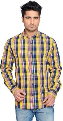 Thinc Men's Checkered Casual Yellow Shirt