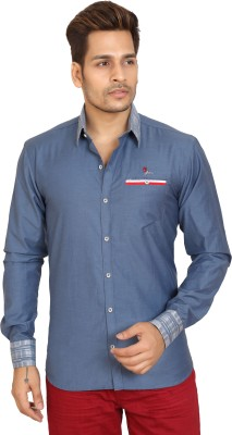 Trustedsnap Men's Solid Casual Blue Shirt