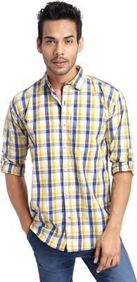 Golf Club Men's Checkered Casual Yellow Shirt