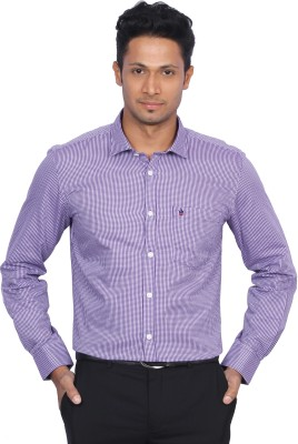 D,INDIAN CLUB Men's Checkered Formal Purple Shirt