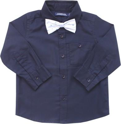 Campana Boy's Solid Formal Blue Shirt