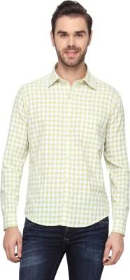 Cross Creek Men's Checkered Casual Green Shirt