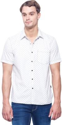 Identiti Men's Polka Print Casual White Shirt