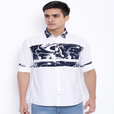 Le Bison Men's Printed Casual White Shirt