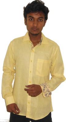 Silvercuffs Men,s Solid Formal Linen Yellow Shirt