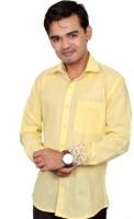 Silvercuffs Formal Shirts (Men's) - silvercuffs Men's Solid Formal Linen Yellow Shirt