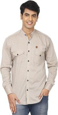 Swiss Culture Men's Printed Casual Beige, Blue Shirt