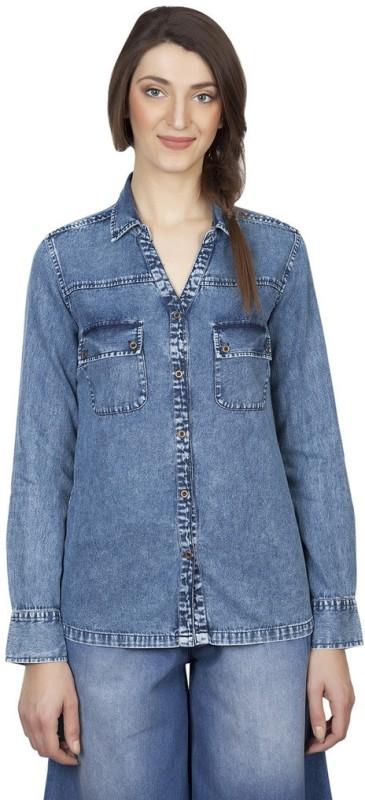 Iralzo Women's Solid Casual Denim Blue Shirt