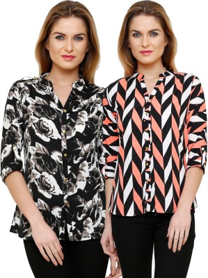 Ritzzy Women's Printed Casual Multicolor Shirt