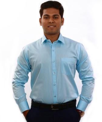 Iconic Men's Striped Formal Light Blue Shirt
