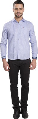 Ishin Men's Solid Casual Blue Shirt