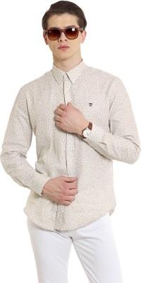 Oxford Club Men's Printed Casual Linen Brown Shirt