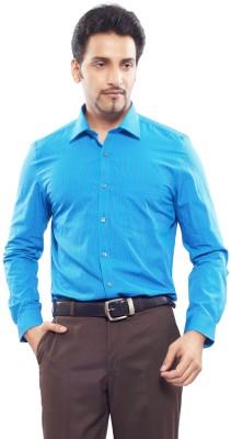 London Bridge Men's Striped Formal Blue Shirt