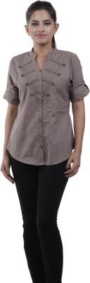 M&F Women's Solid Casual Grey Shirt