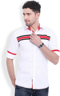 Vintage Men's Solid Casual White Shirt