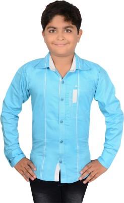 Aedi Boy's Solid Casual Blue Shirt