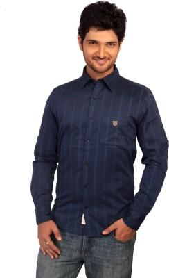 Ecohawk Men's Striped Casual Blue Shirt
