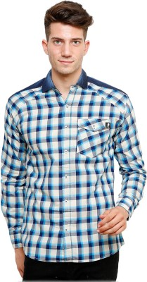 Ebry Men's Checkered Casual White, Blue Shirt