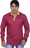 4guys Men's Solid Casual Maroon Shirt