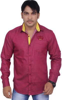 4guys Men's Solid Casual Maroon Shirt
