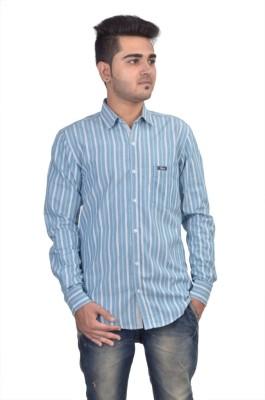 Revine Men's Striped Casual Blue Shirt