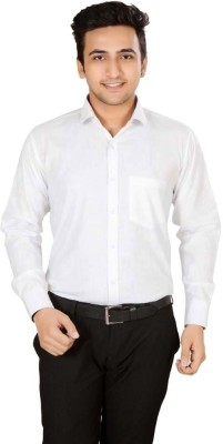 Mensfield Men's Solid Formal, Casual White Shirt