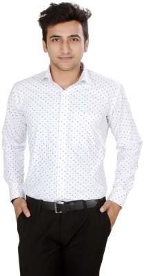 Mensfield Men's Printed Casual, Formal White Shirt