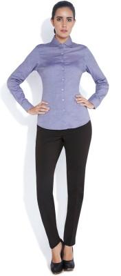 Park Avenue Women,s Solid Formal Purple Shirt