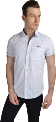 Anry Men's Solid Casual White Shirt
