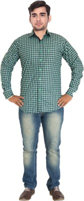 7 Buttons Men's Checkered Formal Green Shirt