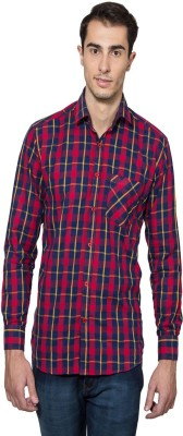 Lee Marc Men's Checkered Casual Dark Blue, Red Shirt