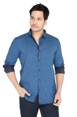 Jadeblue Men's Self Design Casual Blue Shirt
