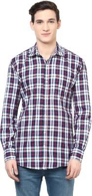 Urbano Fashion Men's Checkered Casual Dark Blue, White, Red Shirt