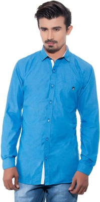 Grey Booze Men's Solid Casual Blue Shirt