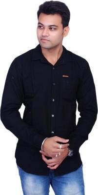 La Milano Men's Solid Casual Black Shirt