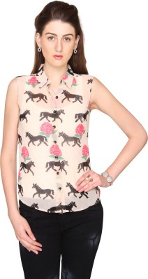 Bedazzle Women's Animal Print Casual White Shirt
