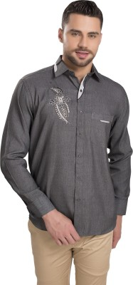 Ishin Men's Solid Festive Reversible Grey Shirt