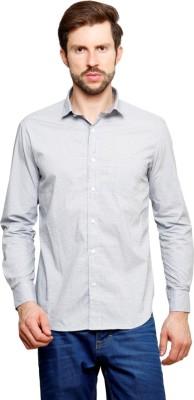 99 Hunts Men's Self Design Casual White Shirt