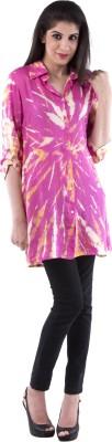Aarr Women,s Printed Casual Purple Shirt